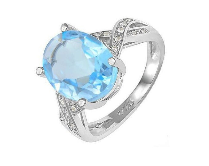 Beautiful 5 1/2 Ct Baby Swiss Blue Topaz & 1/5 Ct Created White Sapphires 925 Sterling Silver Ring TG-BSBTWS01-925 Gemstone Estate Jewelry