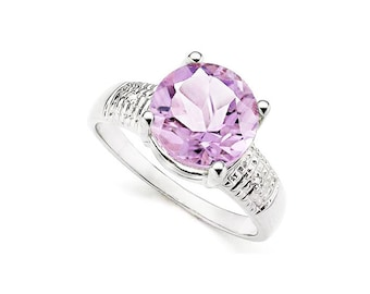Stunning 3.33 Ct Very Light Mauve Pink Amethyst and Diamond Platinum over 925 Sterling Silver Ring TG-PAMDia01-925 Gemstone Estate Jewelry