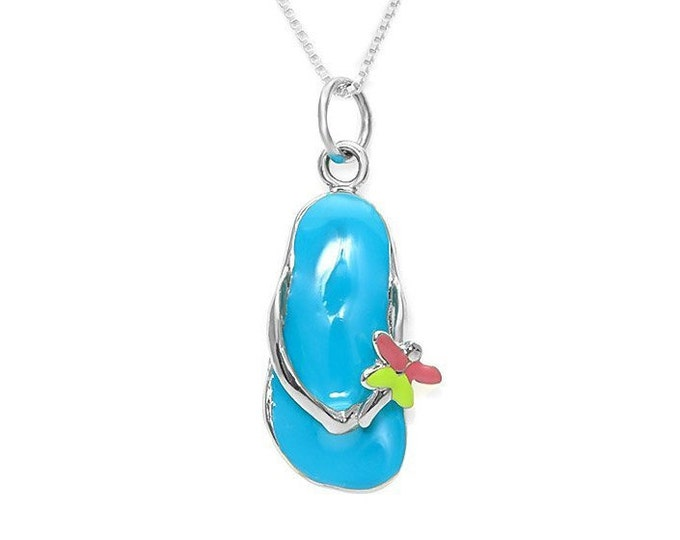Flip Flop Flower Charm Pendant 925 Sterling Silver & Enamel on an 18 Inch Italy 925 Sterling Silver Chain Summer Beach