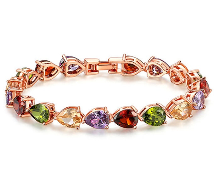 Multicolored Tourmaline Bracelet 18 Kt Rose Gold Plated German Silver Gemstone Jewelry Tennis Bracelet Women Gift Birthday