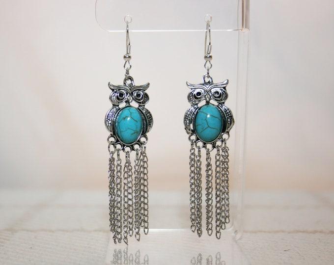 Turquoise Owl Chandelier Dangle Earrings Boho Jewellery Fashion Jewelry Earring Gemstone Jewelry, December Birthstone French Hooks