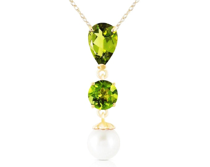 5.25 Ct Peridot and Pearl Pendant on a 14 KT Solid White Gold Rope Chain Necklace Gemstone Estate Jewelry