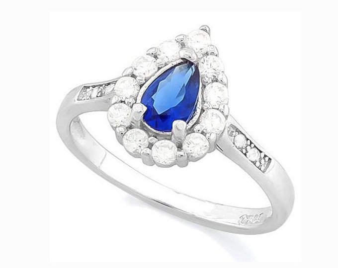 1 Carat Created Blue and White Sapphire & Diamond Sterling Silver Halo Ring, 925 Gemstone Estate Jewelry TG-CBWS-01