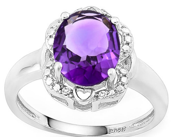 2.61 Ct Amethyst and Diamond Silver Ring 925 Baby Floral Lavender Statement Cocktail Ring Estate Jewelry Size 6 1/2 US
