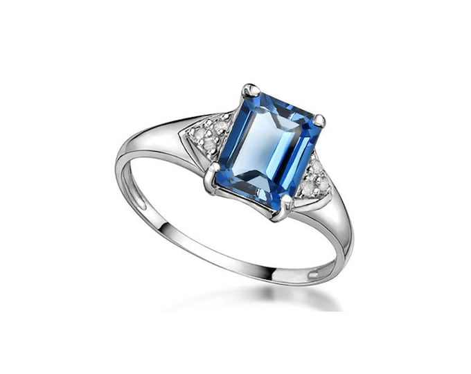 1.72 Ct London Blue Topaz and Diamond 10Kt Solid White Gold Ring Gemstone Estate Jewelry Statement Ring Cocktail Ring Ring Size 7 US