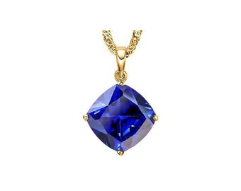 1.6 Carat Created Tanzanite Cushion Cut 10Kt Solid Yellow Gold Necklace Pendant Jewelry (Necklace Chain not Included)