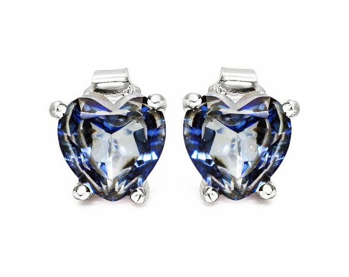 Violet Mystic Topaz 925 Sterling Silver Earrings 1 4/5 Carat Heart Cut Mystic Gemstone Earring - TG-MTGE-925