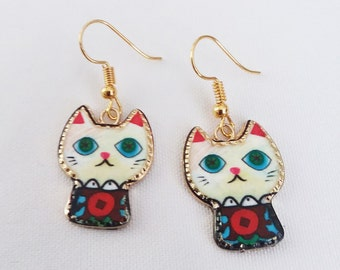 Cat Charm Earrings Multi Colored Enamel Gold Plated Charms Earrings French Hook Ear Wires