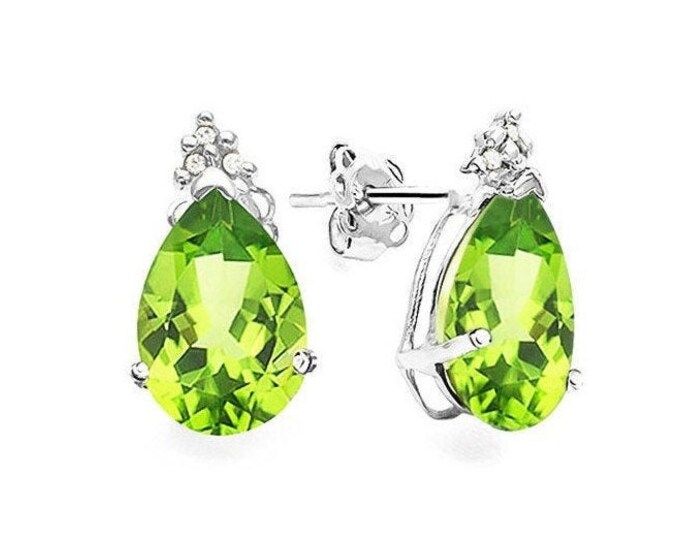1.3 Ct Peridot and Diamond Earrings 10K Solid White Gold Pear Cut Stud Earring Gemstone Estate Jewelry Gift Women Birthday