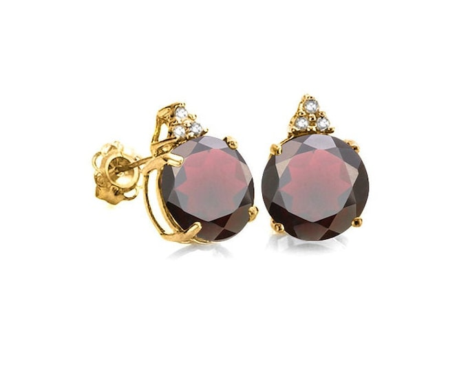 2 Ct Persian Red Garnet & Diamond 10 Kt Solid Yellow Gold Earrings Estate Jewelry Stud Earring