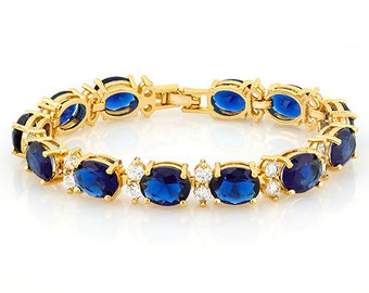 32 Ct Created Blue Sapphire & 3 Ct Created White Topaz Bracelet 18 Kt Gold Plated German Silver Gemstone Jewelry Tennis Bracelet Women Gift