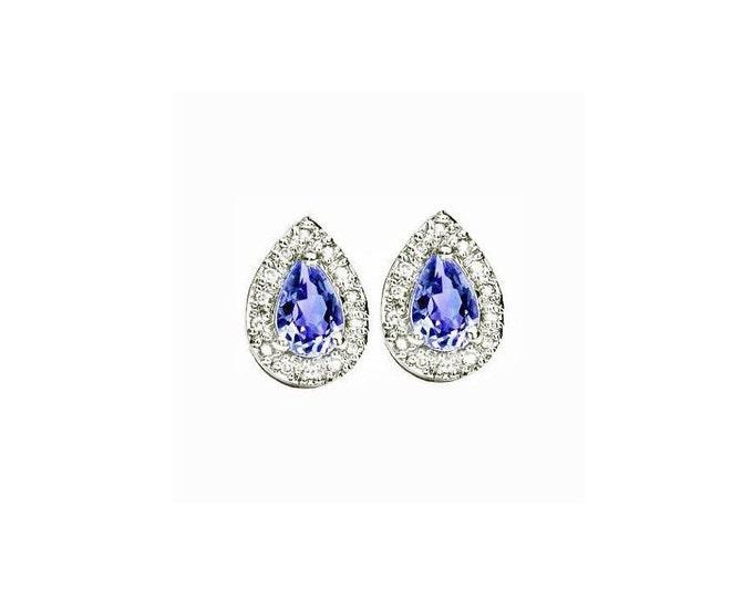 3/5 Ct Pear Cut Tanzanite Sterling Silver Stud Earrings – 925 Gemstone Estate Jewelry Earring