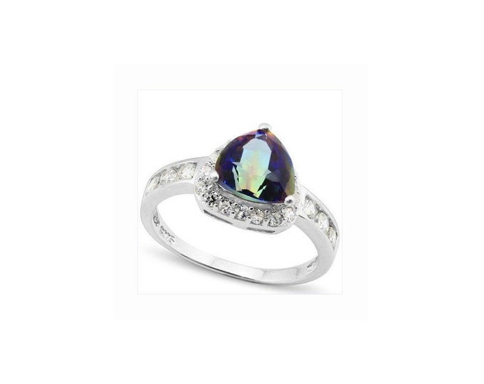 1.2 Ct Ocean Mystic Topaz & CZ Platinum over 925 Sterling Silver Ring – Cocktail Ring – Statement Ring - Estate Jewelry Size 7