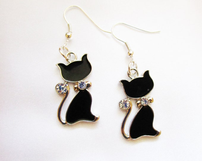 Enamel Black Cat Charm Earrings with Rhinestones & Silver Plated French Hook Style Ear Wire Halloween Earring Charms TG-BCat-002