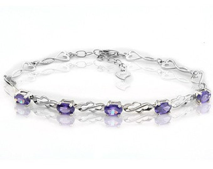 2.15 Ct Created Amethyst Bracelet Sterling Silver 925 Purple Gemstone Estate Statement Jewelry Gift Women Birthday