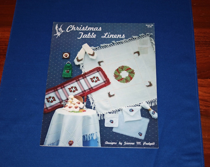 Vintage Christmas Table Linens Cross Stitch Project Booklet Holiday Patterns Crafts Projects Craft Pattern Tablecloth Napkins Table Runner