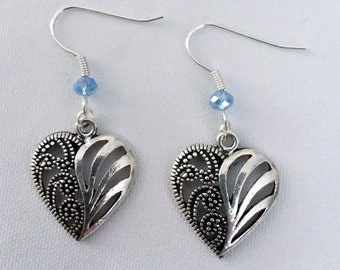 Filagre Heart Earrings with Blue Crystal Heart Charm Earring Drop Dangle Jewelry French Hook Style Ear Wires Gothic Celtic