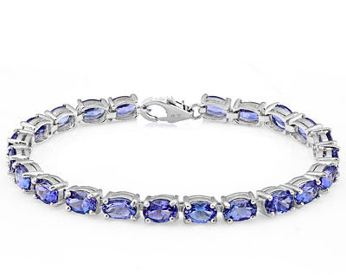 16.50 Ct Lab Tanzanite Bracelet Sterling Silver Tennis Bracelet 925 Gemstone Estate Statement Jewelry Gift Women Birthday