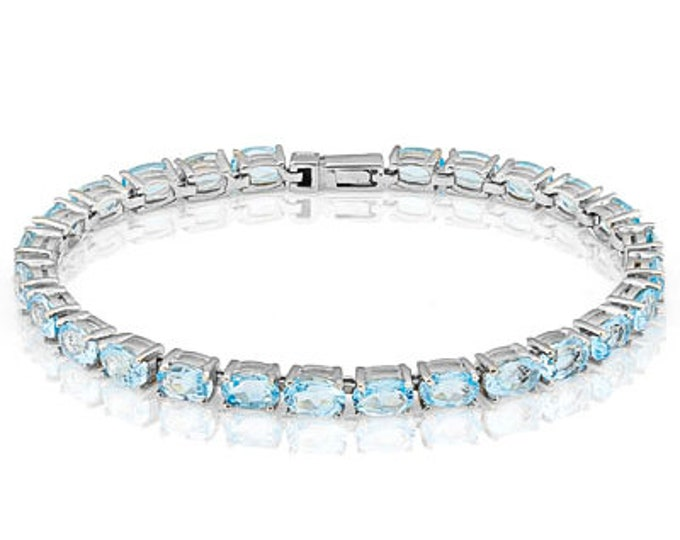 12.08 Ct Sky Blue Topaz Sterling Silver Bracelet 925 Gemstone Estate Statement Jewelry Gift Women Birthday Christmas Baby Swiss Blue