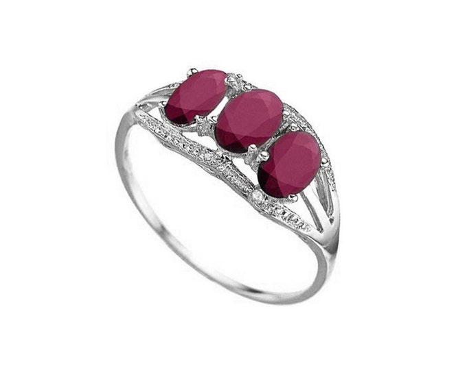 1.96 Ct African Ruby and Diamond 10Kt Solid White Gold Ring Gemstone Rubies Statement Cocktail Ring Estate Jewelry Size 8