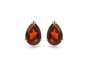0.97 Ct Pear Cut Persian Red Garnet 14 Kt Solid Yellow Gold Earrings Gemstone Estate Jewelry Stud Earring