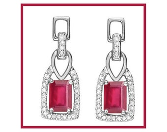 1 3/5 Ct African Ruby Earrings 925 Sterling Silver Rubies Stud Earring - TG AfRub01-925