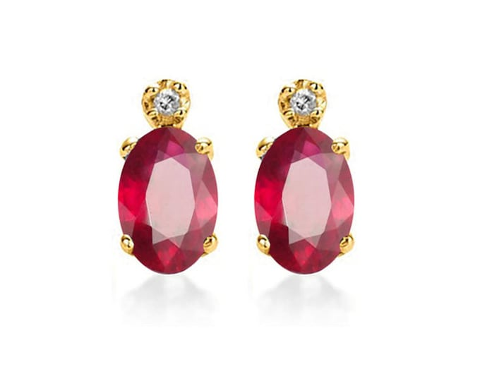 Beautiful 1.52 Carat African Ruby 10K Solid White Gold Stud Earrings – Rubies Gemstone Estate Jewelry