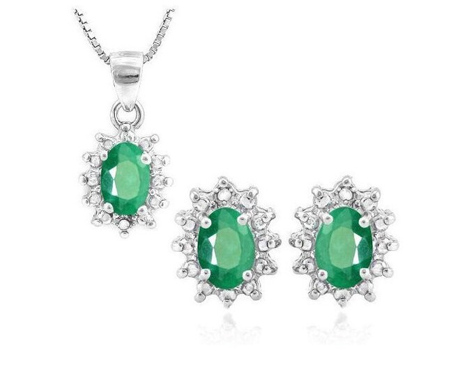 1 1/3 Ct Emerald & Diamond Pendant Necklace and Earring Sterling Silver Set 925 Estate Jewelry Earrings