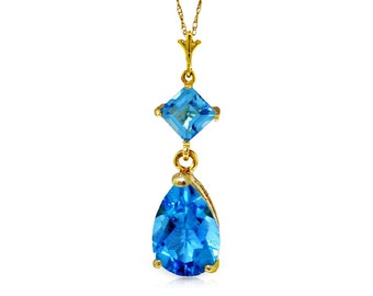 2 Ct Blue Topaz Pendant on an 18 Inch 14 Kt Solid Yellow Gold Rope Chain Necklace Gemstone Estate Jewelry