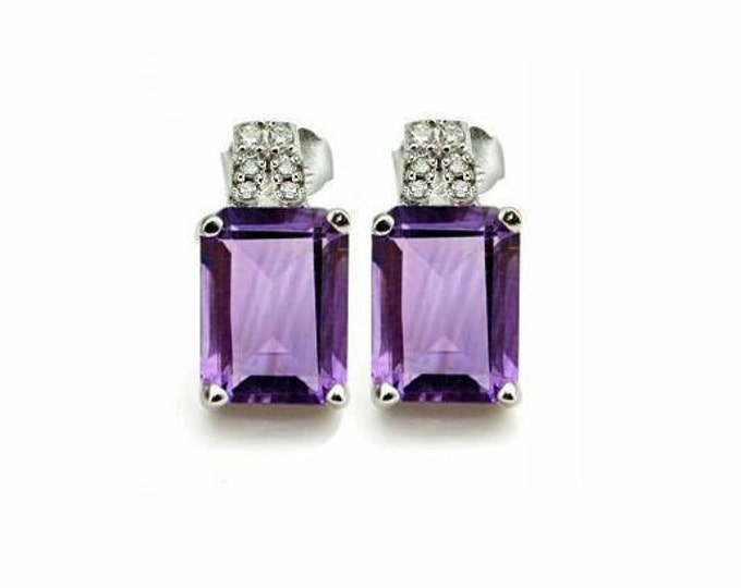 2.83 Carat Amethyst and Diamond Earrings Sterling Silver 925 Gemstone Estate Jewelry Emerald Cut Earring TG-Amethyst01-925