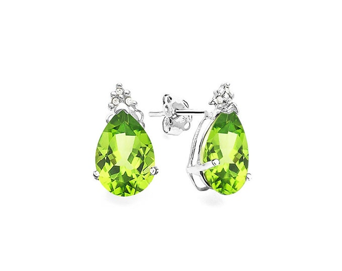 2 Ct Peridot and Diamond 10K Solid White Gold Stud Earrings Lime Green Heart Cut – Gemstone Estate Jewelry