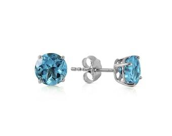 0.95 Ct Genuine Blue Topaz 14Kt Solid White Gold Stud Earrings – Gemstone Estate Jewelry