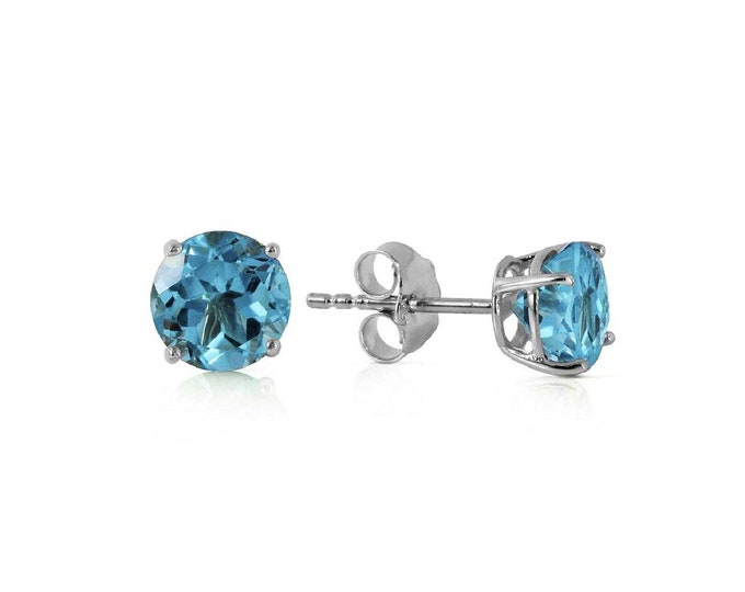 0.95 Ct Genuine Blue Topaz 14Kt Solid White Gold Stud Earrings – Gemstone Estate Jewelry