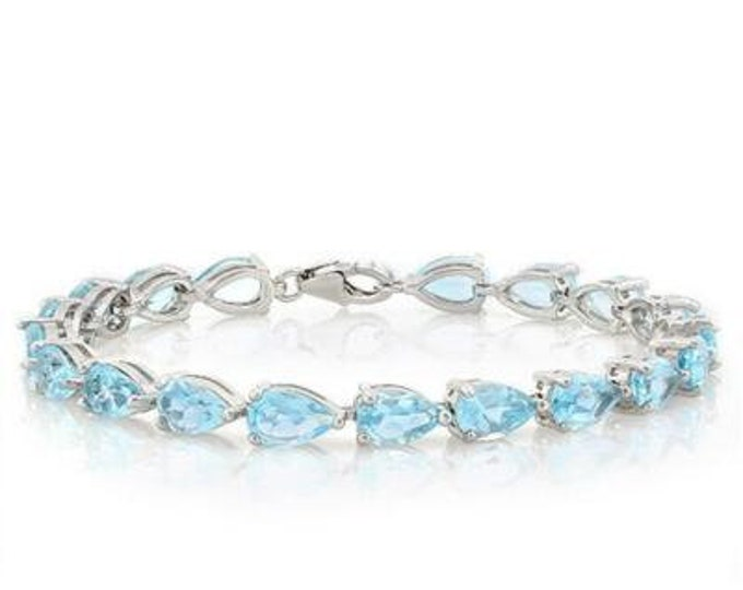 16.58 Ct Sky Blue Topaz Sterling Silver Bracelet 925 Gemstone Estate Statement Jewelry Gift Women Birthday Christmas Baby Swiss Blue