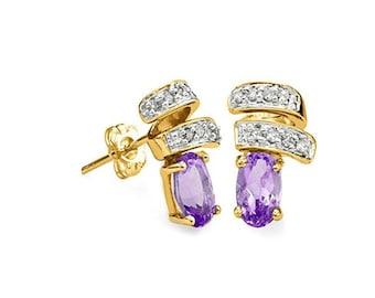 4/5 Ct Amethyst & Diamond 14 Kt Solid Yellow Gold Earrings Estate Jewelry Stud Earring