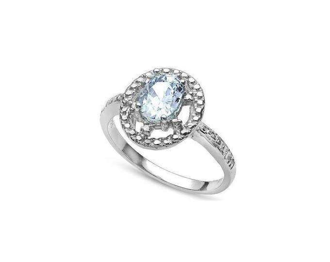 1/2 Ct Aquamarine and Genuine Diamond Platinum over Sterling Silver Ring 925 – Cocktail Ring – Statement Ring - Estate Jewelry Size 7
