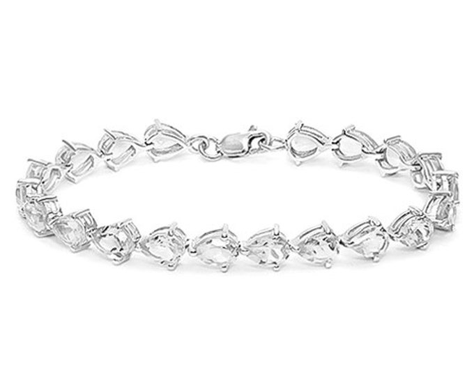 20 Ct White Topaz Sterling Silver Bracelet Pear Cut 925 Gemstone Estate Statement Jewelry Gift Women Birthday Christmas