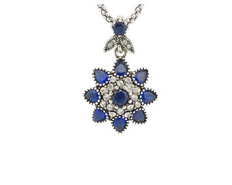 Gorgeous Victorian Blue Resin Stone and Crystal Star Pendant Necklace - White Gold Plated Necklace Estate Jewelry