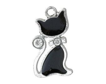 2 Enamel Rhinestones Cat Bracelet Charm  Kitty Charms Necklace Pendant Stitch Marker Jewelry Craft Zipper Pulls Earrings Earring
