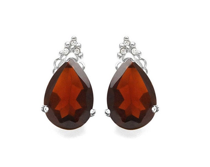 2 Ct Garnet and Diamond 10K Solid White Gold Stud Earrings Pear Cut – Gemstone Estate Jewelry