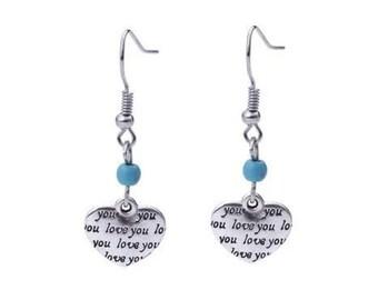 Turquoise Heart Dangle Earrings Boho Jewellery Fashion Jewelry Drop Earring Gemstone Jewelry, December Birthstone French Hooks