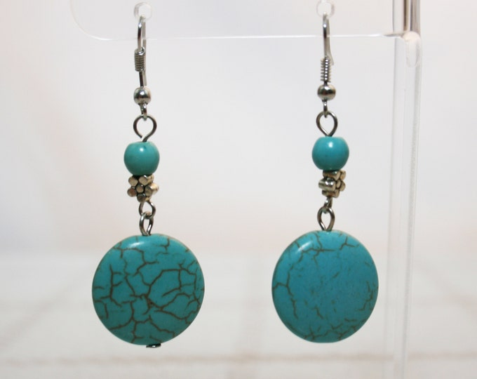 Turquoise Circle Dangle Earrings Boho Jewellery Fashion Jewelry Earring Gemstone Jewelry, December Birthstone French Hooks