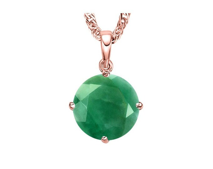 2/5 Carat Genuine Emerald 14K Solid Rose Gold Necklace Pendant Jewelry (Necklace Chain not Included) Gift Women Birthday