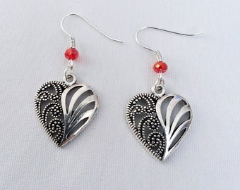 Filagre Heart Earrings with Red Crystal Heart Charm Earring Drop Dangle Jewelry French Hook Style Ear Wires Gothic Celtic