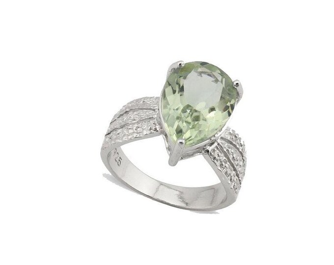 4.5 Ct Green Amethyst and Diamond Platinum Over Solid Sterling Silver Ring 925 Gemstone Statement Cocktail Ring Estate Jewelry Size 8