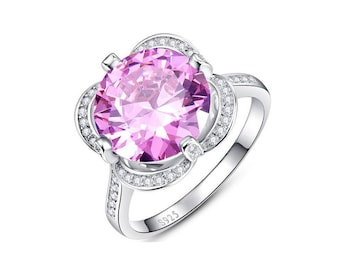 7.5 Ct Created Pink Sapphire and Created Diamonds Sterling Silver Ring 925 Ring Cocktail Ring Statement Ring Estate Jewelry Size 7