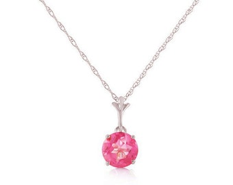 1.15 Ct Pink Topaz Pendant on an 18 Inch 14 KT Solid White Gold Rope Chain Necklace Gemstone Estate Jewelry