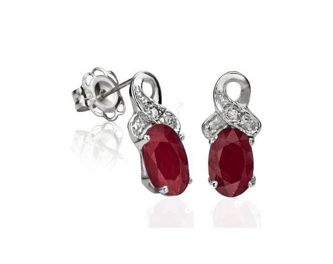 Genuine 1 2/5 Ct Ruby and Diamond Earrings 925 Sterling Silver Rubies & Diamonds Stud Earring - TG-RuDi02-925