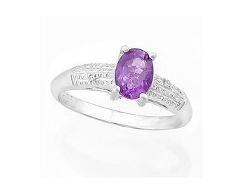 2/3 Ct Purple Amethyst and Diamond Sterling Silver Ring 925 Gemstone Cocktail Statement Ring Estate Jewelry