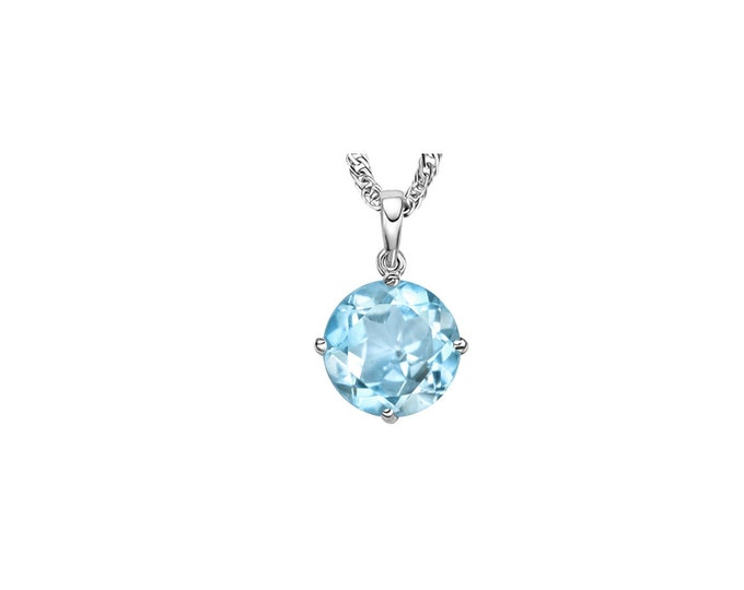 0.58 Carat Sky Blue Topaz 14K Solid White Gold Necklace Pendant Jewelry (Necklace Chain not Included)